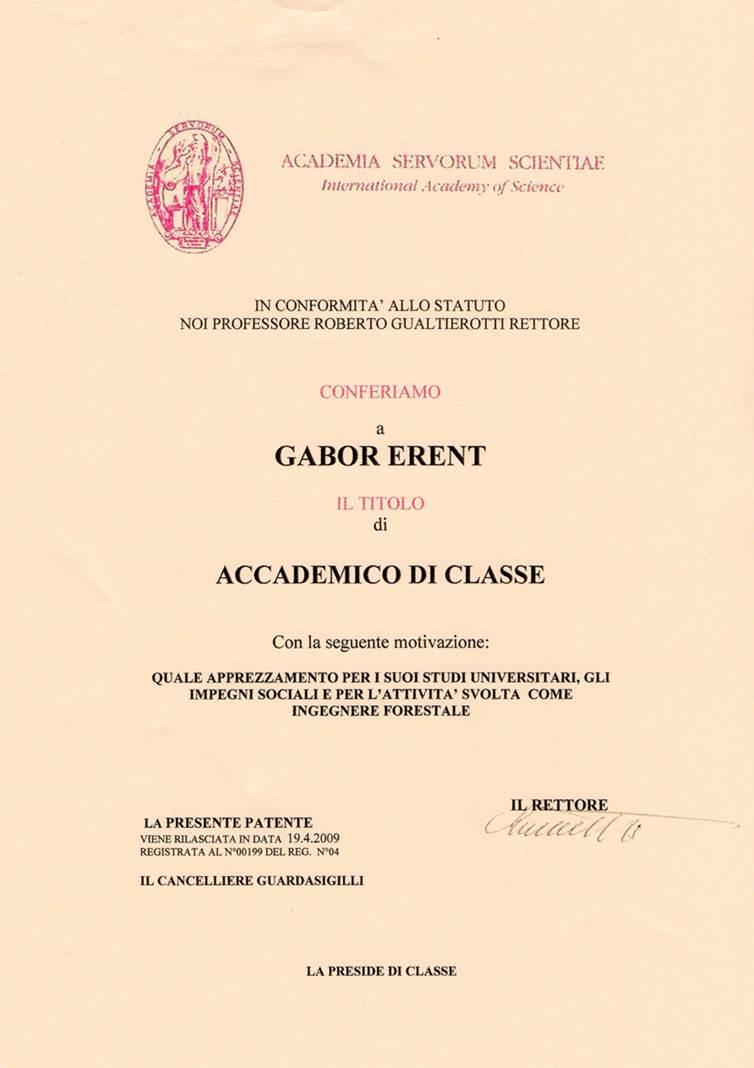 Milánói Tudományos Akadémia tagság